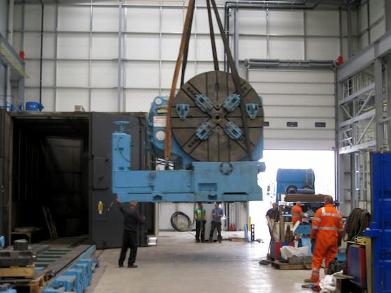 Heavy machinery lifted for relocation